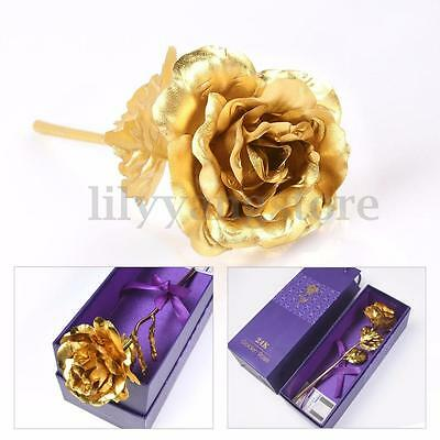 24K Dipped Gold Foil Rose Wedding Birthday Valentine's Day Lovers Gifts + Box