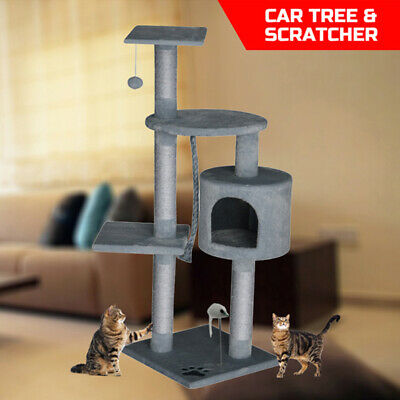 Cat Tree Scratching Post Gym Condo Furniture Scratcher Poles 112cm Gray