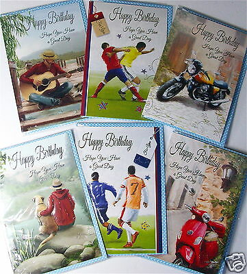 MALE OPEN BIRTHDAY CARDS 6 DESIGNS X 6, JUST 25p, EMBOSSED, FOILED, WRAPPED (B83