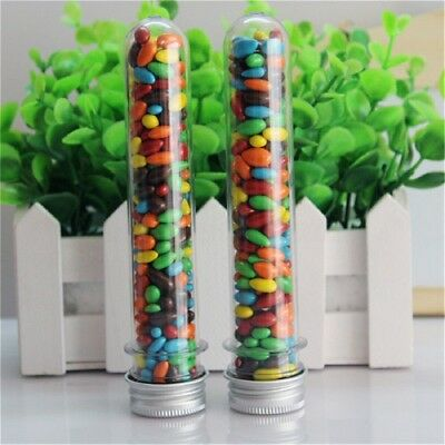 20XPlastic Party Test Tubes Metal Cap Stoppers Wedding Party Candy Storage
