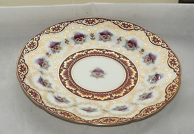 Antique Cauldon UK Art Nouveau c1905 Purple Pansy Red and Gilt 22cm Plate