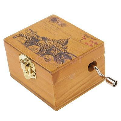 Scenery Wooden Hand-cranked Music Box Clockwork Music Box Castle in the Sky