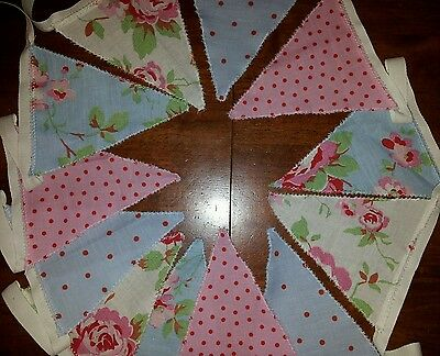 2m rosali fabric shabby chic/French Country style bunting pink/blue/white
