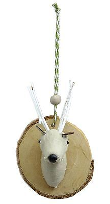Fabric Deer Stag Head Plaque Christmas Tree Hanging Decoration - Design may vary