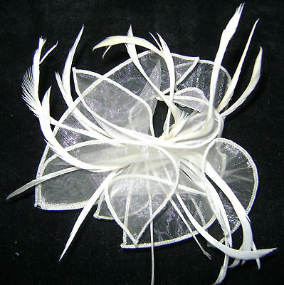 New Ivory White  Single Comb Net Bow  Feather Fascinator Ssc