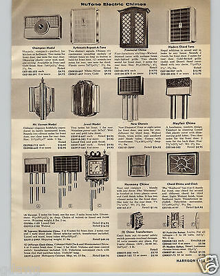 1960 PAPER AD Mid Century Modern Nutone Electric Door Chimes Bell Jefferson