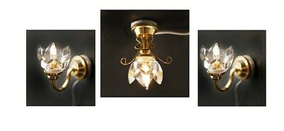 Set of 3 Dolls House Lights: 1 Ceiling Light & 2 Wall Lights with Clear Shades