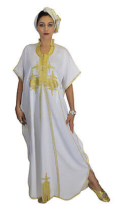 Moroccan Caftan Women kaftan Abaya Beach Cover Summer Long Dress Cotton White