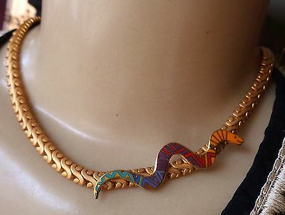 Vintage Necklace Long Asymmetrical Southwestern Snake Pendant Wide Collar