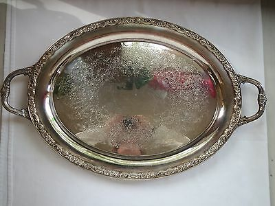 """Wm Rogers & Son VICTORIAN ROSE 24"""" Silverplate Oval Serving Tray 3027-2"""
