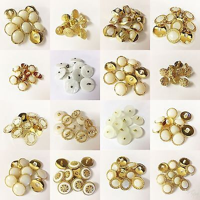 12mm 20L White /& Gold Pearlescent Pearl Shank Dress Costume Craft Buttons K223