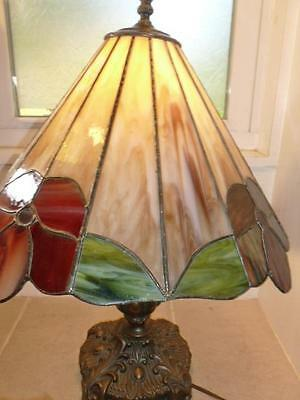 Vintage Stained Glass Large Flower Ornate Table Lamp Antique Brass Finish