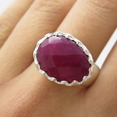925 Sterling Silver Large Natural Ruby Gemstone Ring Size 8