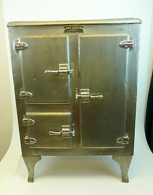 White Mountain Antique Metal Ice Box Maine Mfg Commercial 3 Door Aluminum Tin