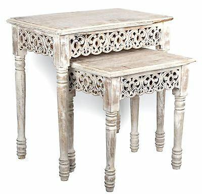 Set Of 2 Nesting Carved Edge Lime Washed Mango Wood Wooden Side Tables