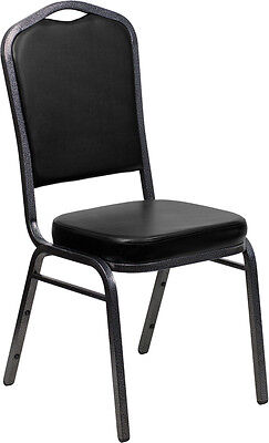 Lot of 4 Crown Back Black Vinyl Silver Vein Frame Poker Table Stack Chairs