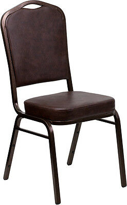 Lot of 4 Crown Back Brown Vinyl Copper Vein Frame Poker Table Stack Chairs