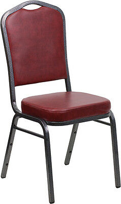 Lot of 4 Crown Back Burgundy Vinyl Silver Vein Frame Poker Table Stack Chairs