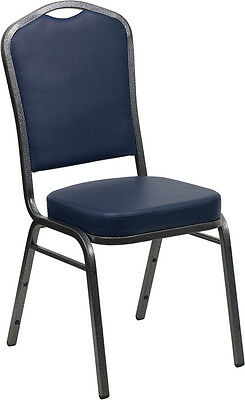 Lot of 4 Crown Back Navy Vinyl Silver Vein Frame Poker Table Stack Chairs