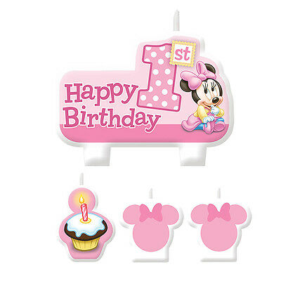 Disney Baby MINNIE Mouse CANDLE SET 1st Birthday Party Cake Supplies Decorations