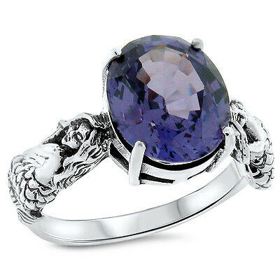 Mermaid Color Changing Lab Alexandrite .925 Sterling Silver Ring Size 7,   #812