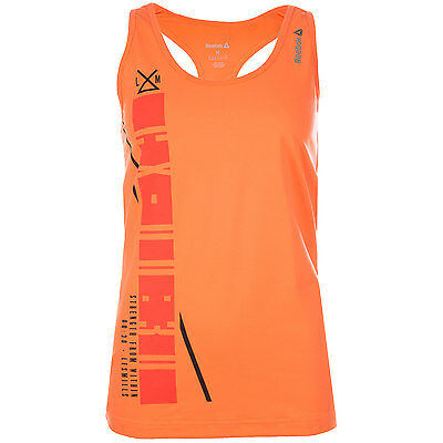 Womens Reebok Womens Les Mills Poly Tank in Peach - 12-14 From Get The Label