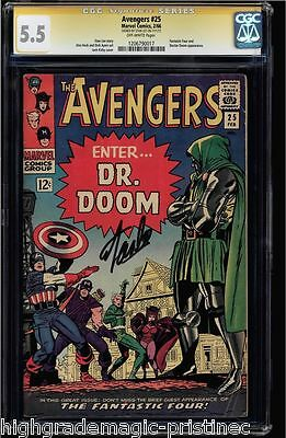 Avengers #25 Cgc 5.5 (1966) Ss Stan Lee Signed & Story Cgc #1206790017