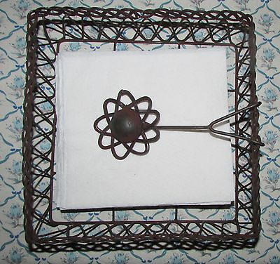 Primitive Repro Napkin Holder Twisted Wrought Wire w/ Flower Center Large -  NEW