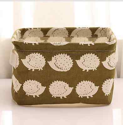 Linen Desk Storage Cosmetic Holder Stationery Organizer Case Bag Hedgehog Shape