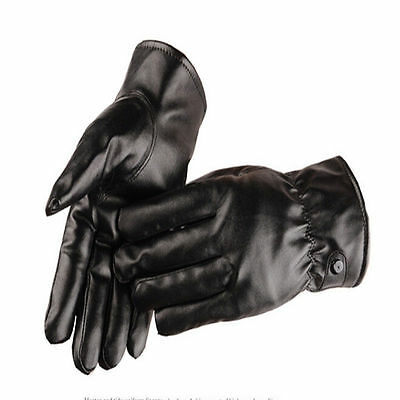 Men Women Winter Leather Motorcycle Full Finger Touch Screen Warm Gloves Black