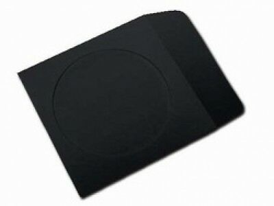 100 Black Paper CD Sleeves with Window & Flap