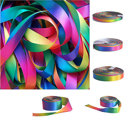 Single Double Sided Rainbow Grosgrain Satin Ribbon 10mm 16mm 25mm 38mm B103