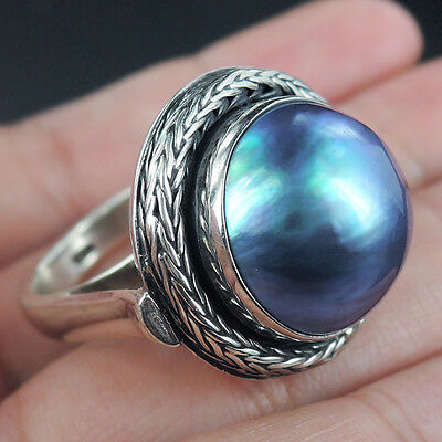 Chunky LARGE BLUE MABE PEARL & 925 Sterling Silver Ring, Size P-UK, 8-USA