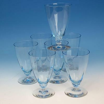 Fostoria Glass - Blue Fairfax Pattern - 7 Footed 9 oz Water Glasses - 5¼ inches