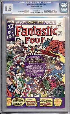 Fantastic Four Annual # 3  The Wedding of Sue and Reed !  CGC 8.5 scarce book !