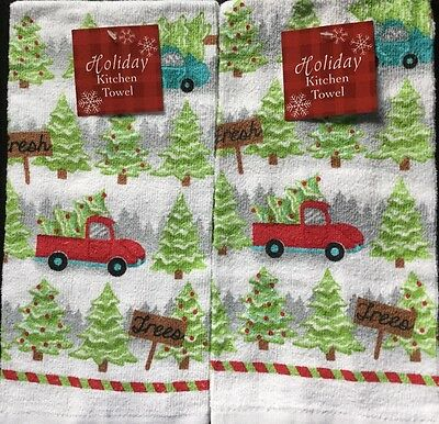 Set Of 2 Family Christmas Tree Holiday Winter Snow Kitchen Dish Hand Tea Towels