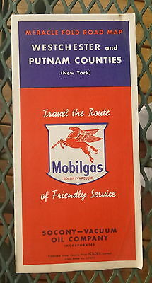 1952 Westchester and Putnam Counties  road  map  Vacuum Mobil   oil gas New York
