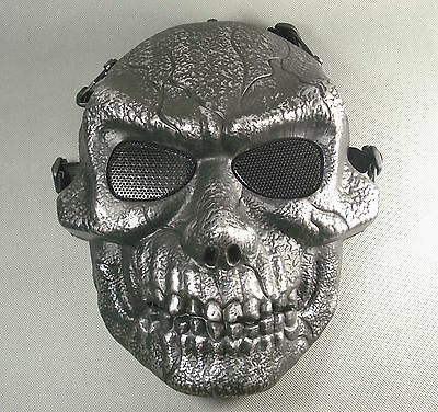 Black silver Paintball Airsoft Full Face Protection Terror Skull Mask Halloween