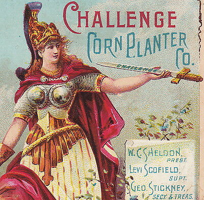 Challenge Ice Box Refrigerator Corn Planter Grand Haven MI Goddess Ad Trade Card