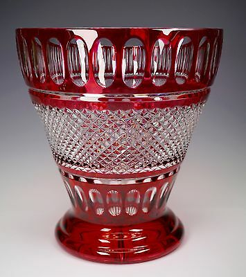 Val St. Lambert Crystal Ruby Cranberry Cut to Clear Huge Glass Vase