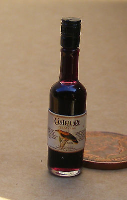 1:12 Scale Real Glass Bottle Of Red Wine Dolls House Miniature Bar Accessory