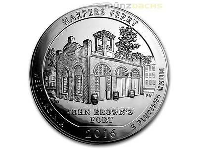 America the Beautiful ATB Harpers Ferry West Virginia 5 oz Silber USA 2016