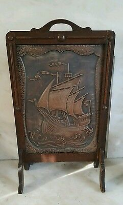 Arts & Crafts Antique Oak Fire Spark Guard Screen