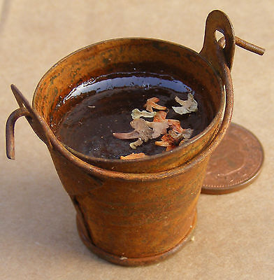 1:12 Scale Large Rusty Metal Bucket Of Water Dolls House Miniature Accessory