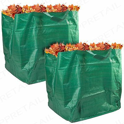 2 STRONG HEAVY DUTY GARDEN WASTE BAG 90L Rubbish/Refuse Grass Handle Sack LARGE