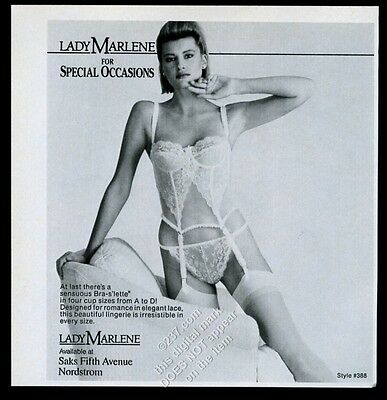 1990 Lady Marlene lingerie woman in bra garter panty photo vintage print ad