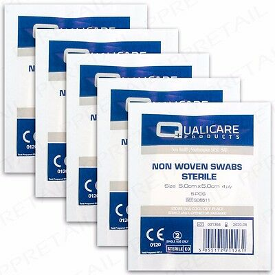 25 NON WOVEN 5x5cm STERILE MEDICAL SWABS Absorbent Quality Gauze First Aid Kit