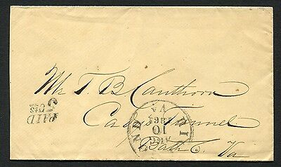 RICHMOND VA AUG 10 1861 PAID 5Cts (DT-V) on clean pretty cover to Cadys Tunnel