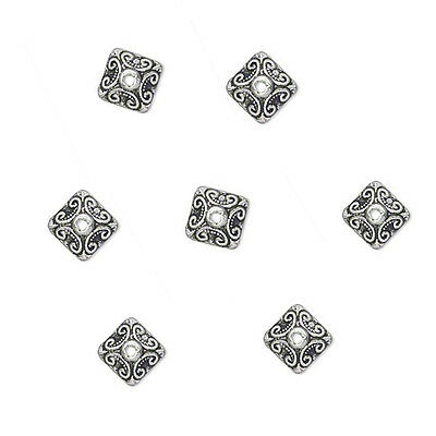 20 Antique Silver Plated Ornate Square Metal Bead Caps 10MM