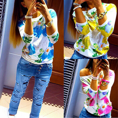 UK Women's Floral Long Sleeve Shirt Casual T-Shirt Pullover Casual Tops Blouse